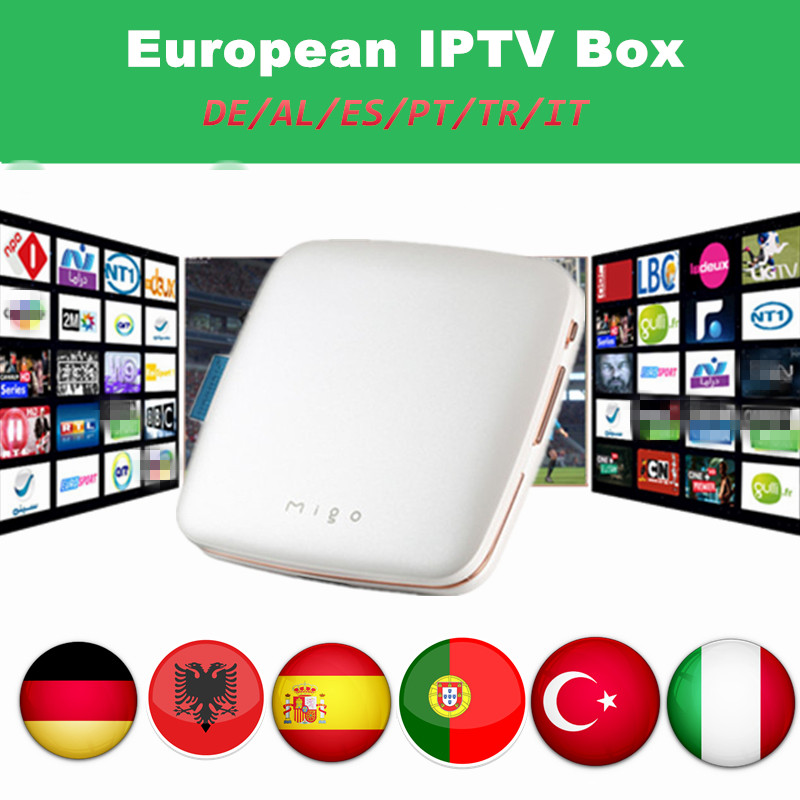 Ipremium Migo Android TV Box With 1 Year free Portugal Germany Albania Turkey Italy IPTV Hotclub Adult 3500 channels Mini Box