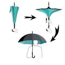 20 Farben Doppelschicht Reverse Dach Offen/Schließen In Die Engsten Raum Kreative Grafik Winddicht Auto Regenschirm KAZbrella