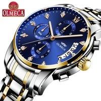 OLMECA Luxury Watches Men Fashion Casual Charm Luminous Sport relogio masculino Waterproof 30m Gold Blue Stainless Steel
