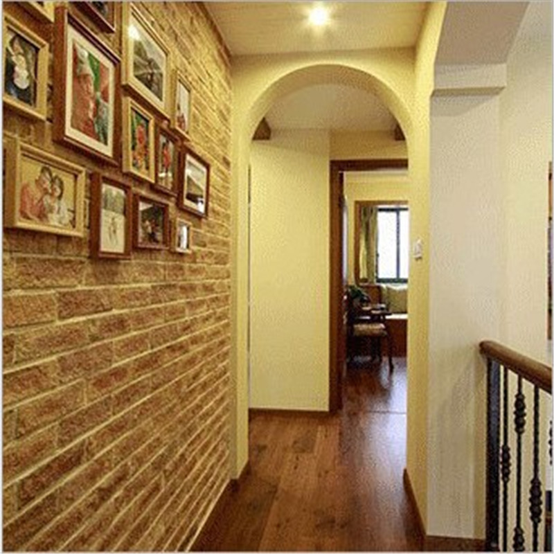 ФОТО PVC Wallpaper Roll living room Wall covering Decor Deep Embossed 3D Brick Wall Paper Vintage Brick Stone Pattern cafe wallpaper