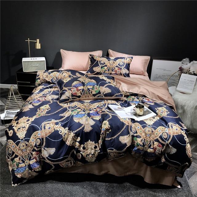 2018 Luxury European Golden Duvet Cover Set Egyptian Cotton Digital Print Bedlinens Queen King Size Bedsheet Bedding Set