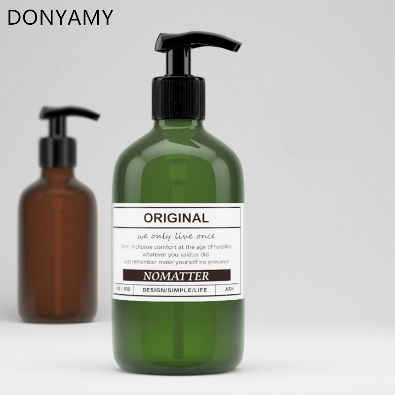 DONYAMY 1pc 500ml PET Round Lotion Press Shampoo Bottle Liquid Soap Dispensers