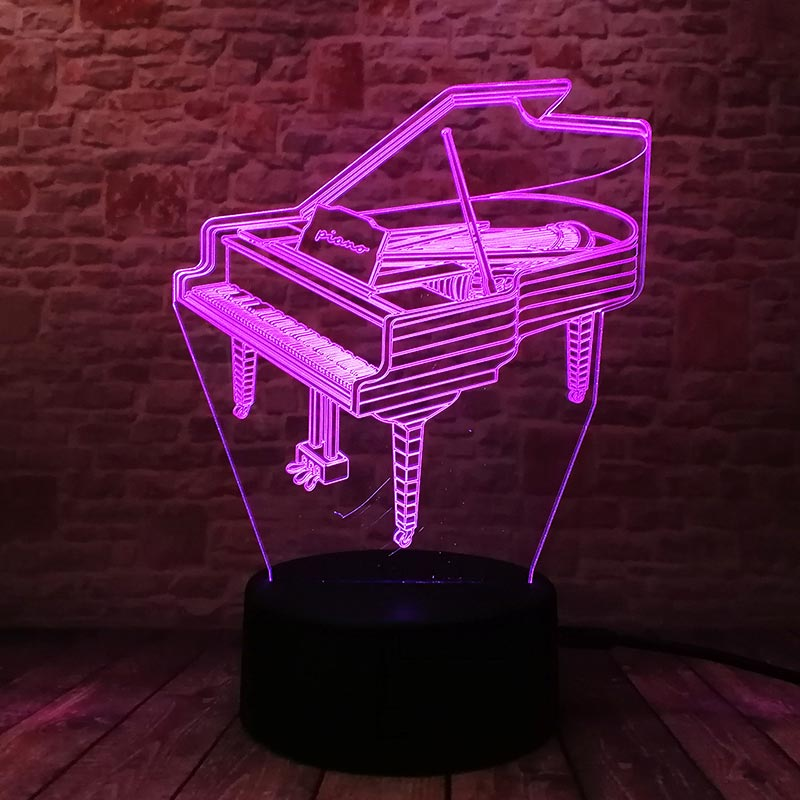 3D LED Illusion Nightlight Touch Light Bedside Lamp Bedroom Baby Piano Model Toys for Ki ...