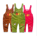 Spring Children Clothes Fashion Baby Girls Candy Color Corduroy Bib Pants Baby Boys Letters Embroidery Jumpsuits ChildrenRompers