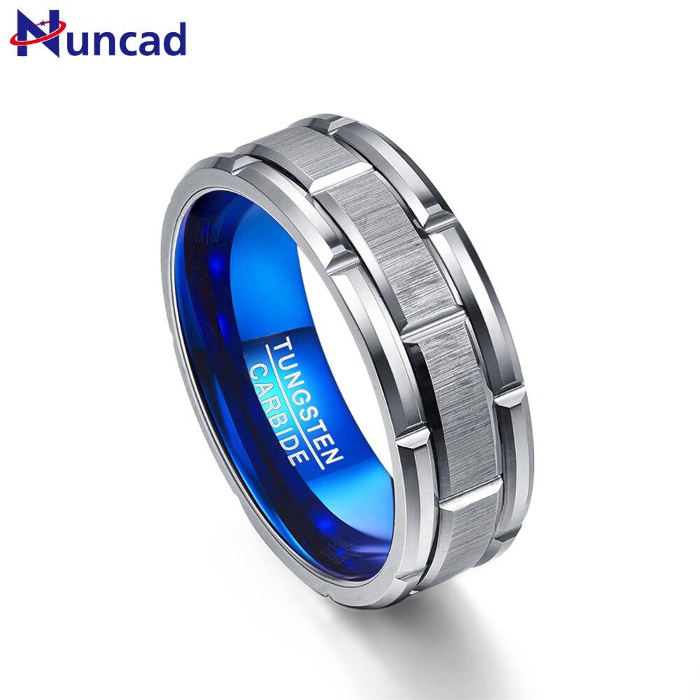 Nuncad T062R único anillo de compromiso anillo combinación agujero azul 8mm ancho anillo de acero de tungsteno Tamaño 7-12