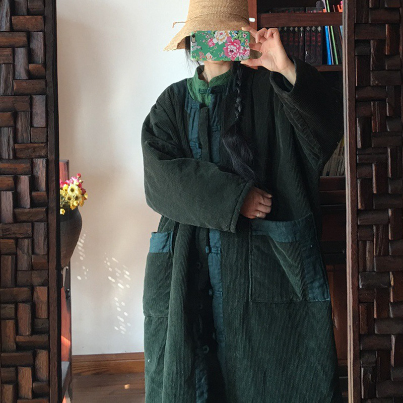 Johnature Corduroy Parkas Coats Vintage Women Green 2019 Winter Long Sleeve Patchwork Pockets Chinese Style Women