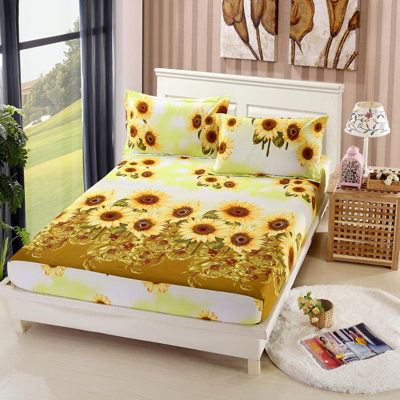 Cotton Fitted Sheet Pillowcase Mattress Cover Bed Sheet Bedlinen With Elastic Band Single Double Twin Queen Size 160cm*200cm Smart Electronics