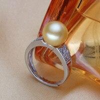 Женский подарок слово 925 Стерлинговое Серебро, настоящее [яркая жемчужина] круглая Золотая жемчужина пресноводный жемчуг кольцо световое с