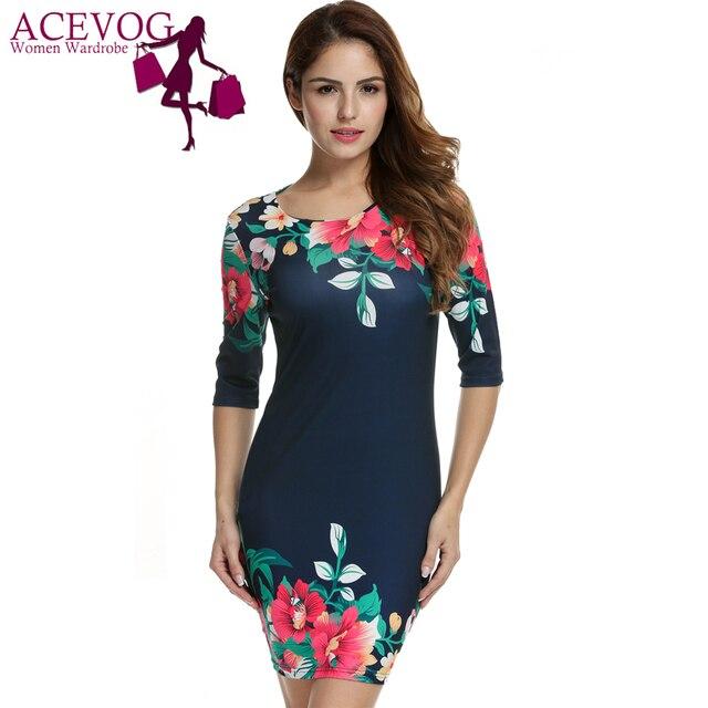 6906ac1f684 ACEVOG femmes d été robe pour femmes Moulante Paquet Marine Bleu ...