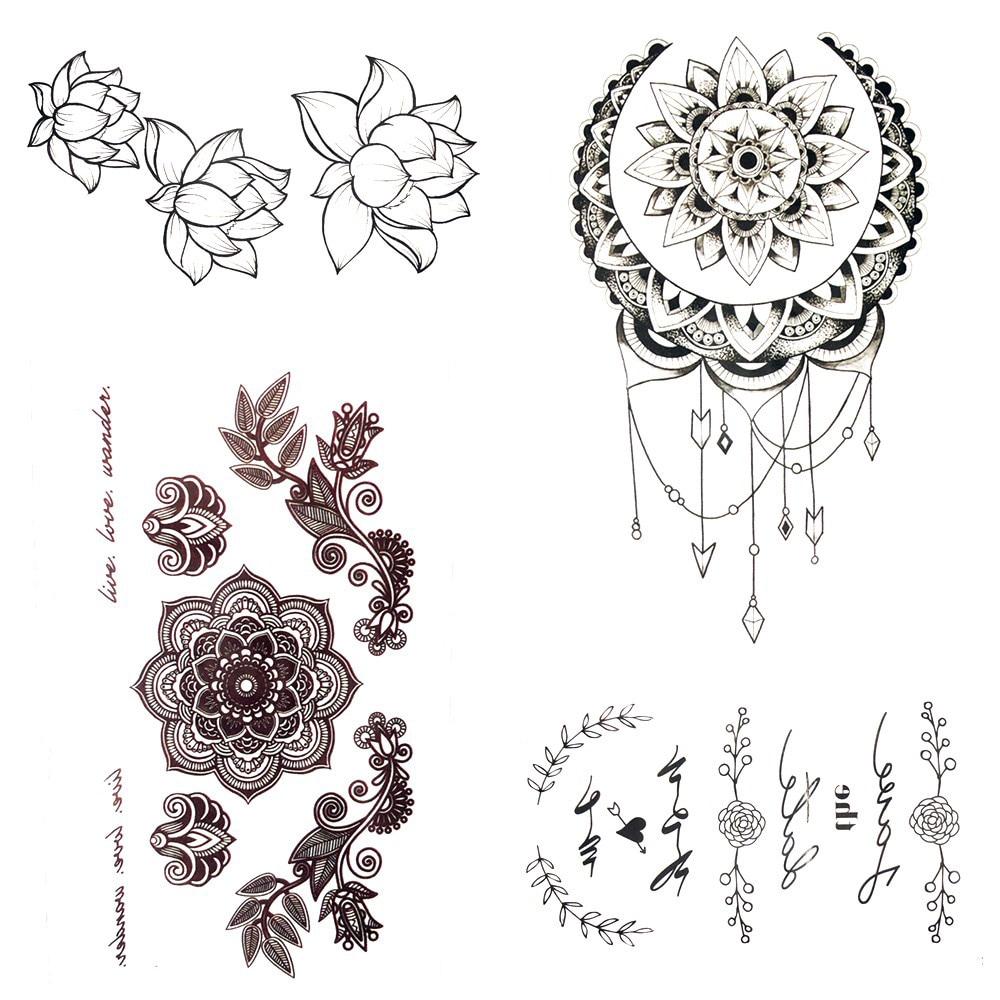 petit henn mandala fleur temporaire tatouage soleil lune. Black Bedroom Furniture Sets. Home Design Ideas