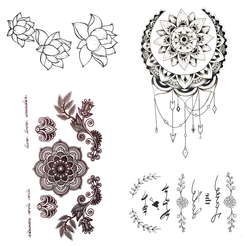 21 Trendy Mandala Tattoo Ideas For Women: Small Henna Mandala Flower Temporary Tattoo Sun Moon Body