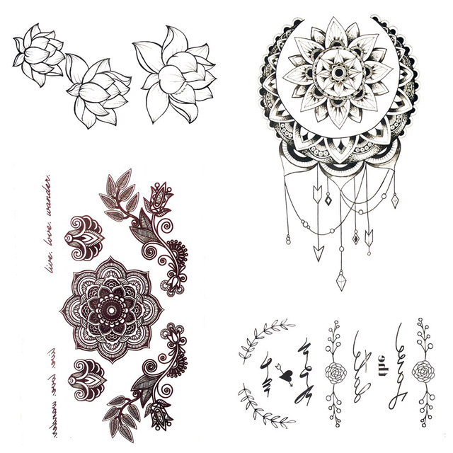 Small Henna Mandala Flower Temporary Tattoo Sun Moon Body Arm Chest