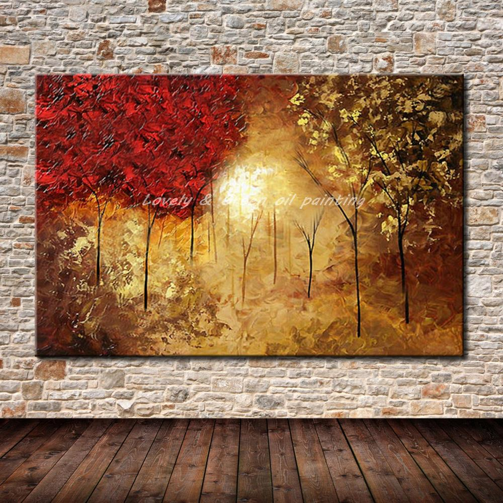 peint la main paysage abstrait peinture l 39 huile accrocher des tableaux moderne arbres image. Black Bedroom Furniture Sets. Home Design Ideas