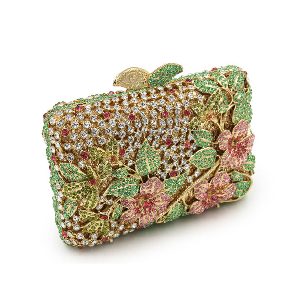 XIYUAN BRAND famous brand Flower Crystal Bridesmaids Clutch bag colorful 100% Handmade Evening bags purse for birthday party famous brand bag 100