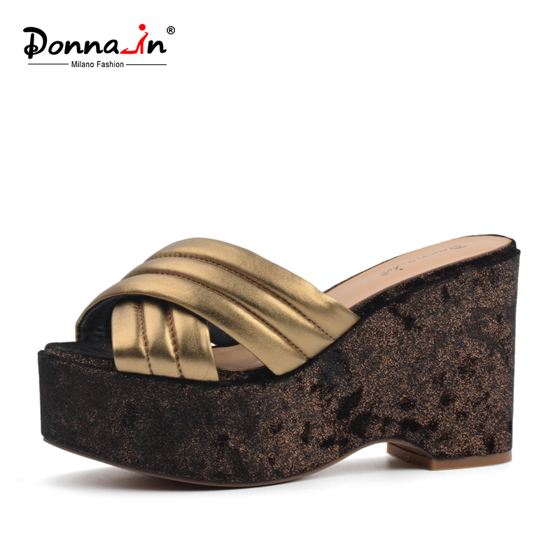 Donna-in platform high heel slippers genuine leather fashion women sandals wedges natural sheepskin ladies shoes black women wedge slippers 12cm high heel platform pumps genuine leather shoes woman gladiator sandals slides wedges creepers