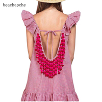 Summer Sexy Backless Tassels Women Dress A Line Beach Casual Dress Solid Sleeveless V Neck Loose