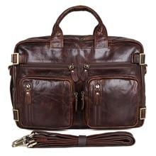 JMD Vintage Genuine Leather Handbag Briefcase Mens Multifunction Laptop Bag 7026Q