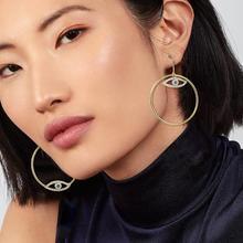 купить 2019 Gold evil eye hoop earring copper women fashion hoop earrings loop circle gilding earing jewelry ornament women's earrings дешево