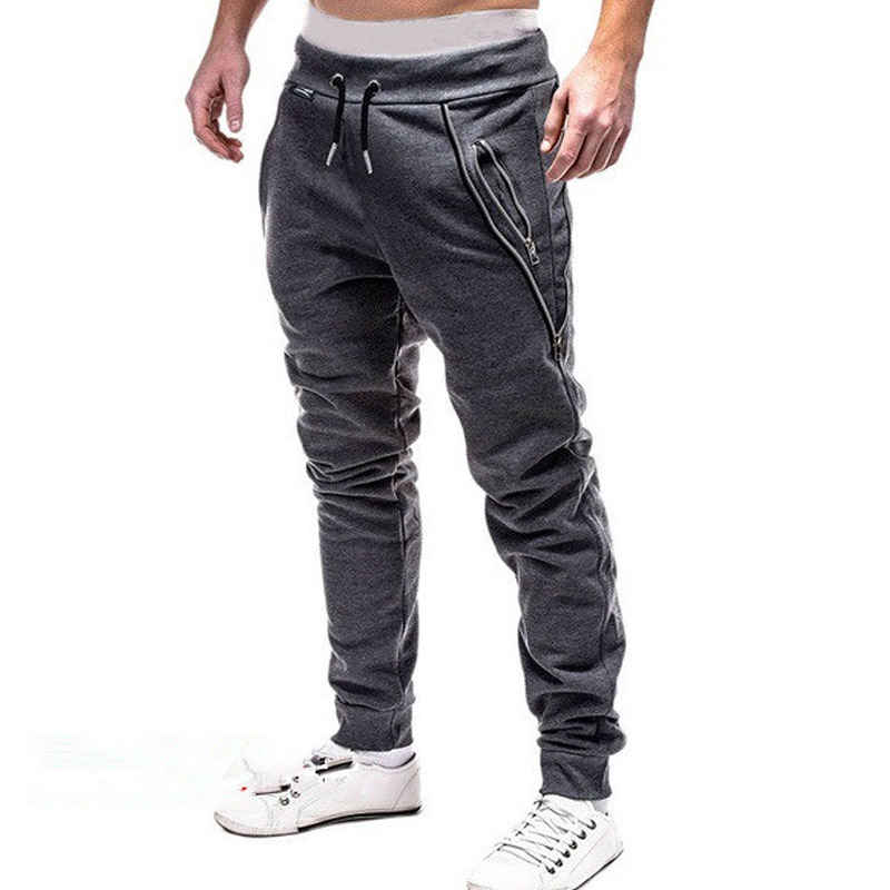 New Casual Pants Men Solid Mid Waist Streetwear Trousers Men Zipper Pockets Full Length Mens Joggers Pants 3XL Pantalones Hombre