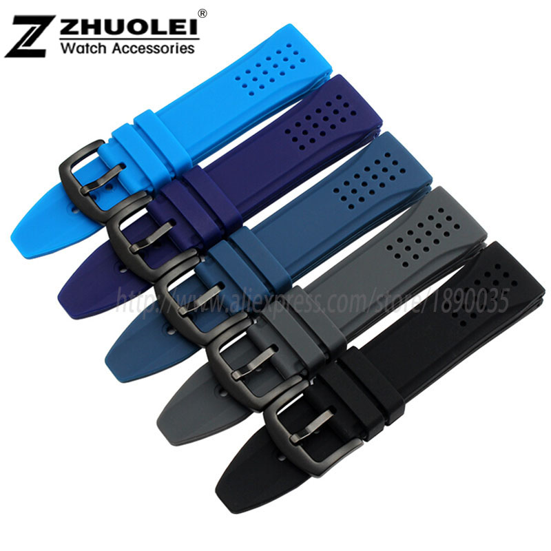 24mm New Black Dark blue orange Waterproof Silicone Rubber Men's Watch Strap Band Deployment Buckle 12 kinds color rubber color red orange blue coffee men s waterproof silicone rubber wrist watch strap band with deployment clasp