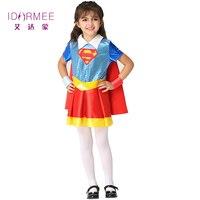 IDARMEE S9276 Halloween Supergirl Costume Deluxe Child Dawn Of Justice Superhero Girls Princess Dress Up Size