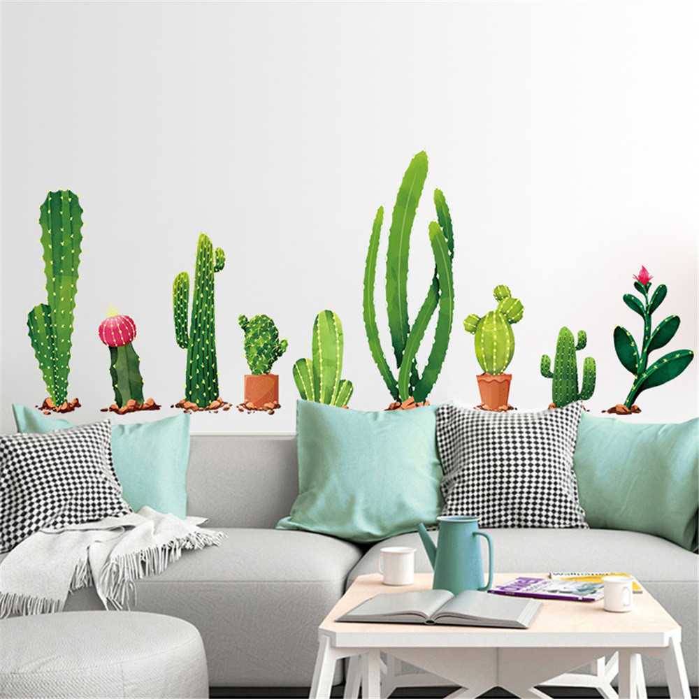 Plants For Kitchen To Decorate It: Green Plants And Cacti Wall And Window Stickers