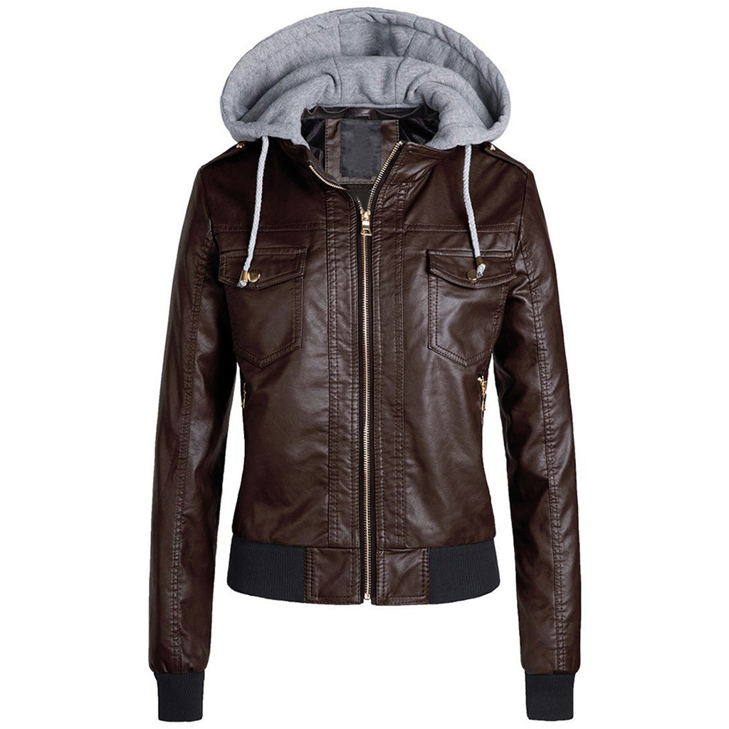 Women Slim Leather   Jacket   Removable Zipper Caps Hooded Warm Short Coats Outwear Ladies   Basic     Jackets   Windproof Coats Female 7.11