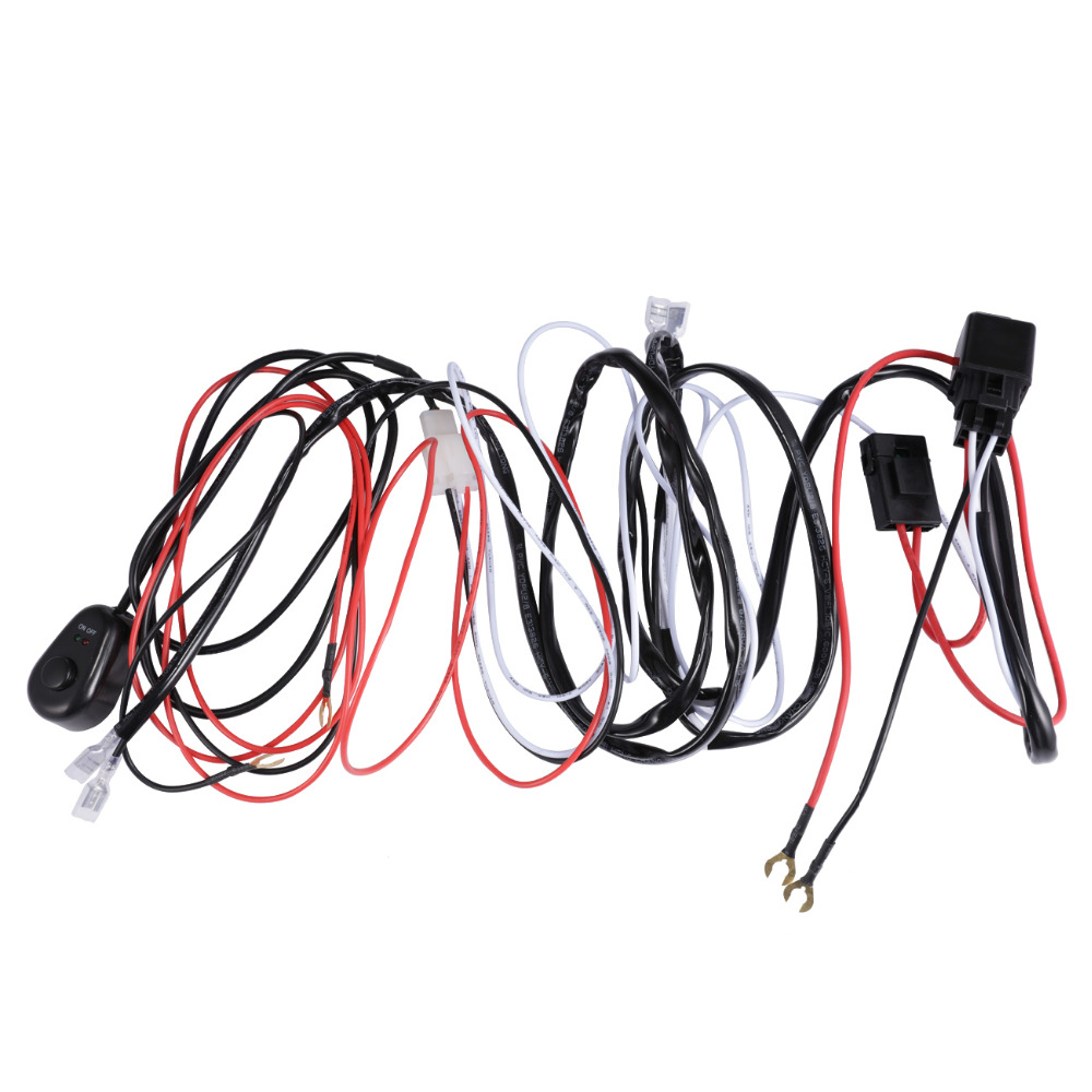 Partol 2m Car Auto Led Work Lights Wiring Loom Harness Offroad Off Road Light Bar Wire Cable 30a 40a 12v 24v Switch Relay Kit In From Automobiles