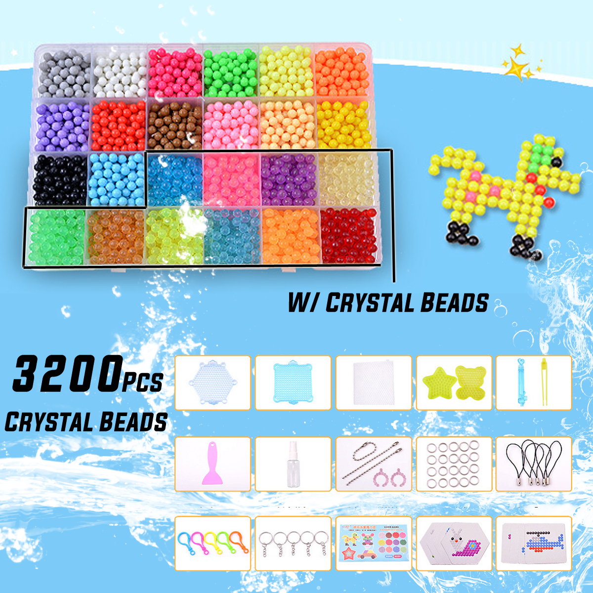 24 Color 3200pcs Box Set Of For Hama Beads For Children Educational Jigsaw Puzzle DIY Toys Fuse Beads Pegboard
