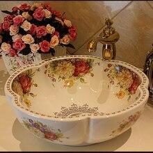 Цветок розы керамическая Столешница мыть раковины-чаши для ванной комнаты