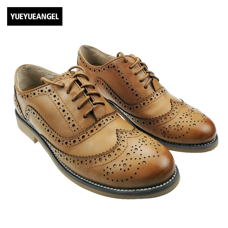 Top Quality Fashion Retro Oxfords Womens Leather Shoes Pumps Ladies Low Heels Brogues Wingtip Lace Up Dress Shoes Free Shipping keddo womens lace up brogues