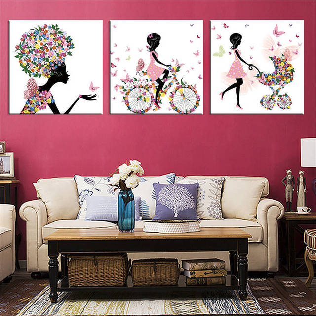Modern fashion girl flower Pink canvas painting wall pictures for ...