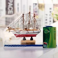 Mediterranean Style Wooden Sailboat Decoration Student Stationery Wooden Crafts Sailing Desktop Storage Ship Model Student Gift