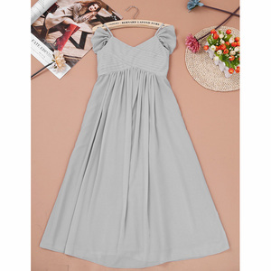 Image 4 - 3 10 yıl Çocuklar Kızlar Kapalı omuz Pilili Şifon Çiçek Kız Elbise kız düğün parti vestidos infantis çocuk Kız Elbise