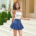 2016 Summer Style Women Vintage High Waist Denim Skirt Pleated Flared Circle Fashion Style Ladies Mini Denim Skirt Saia