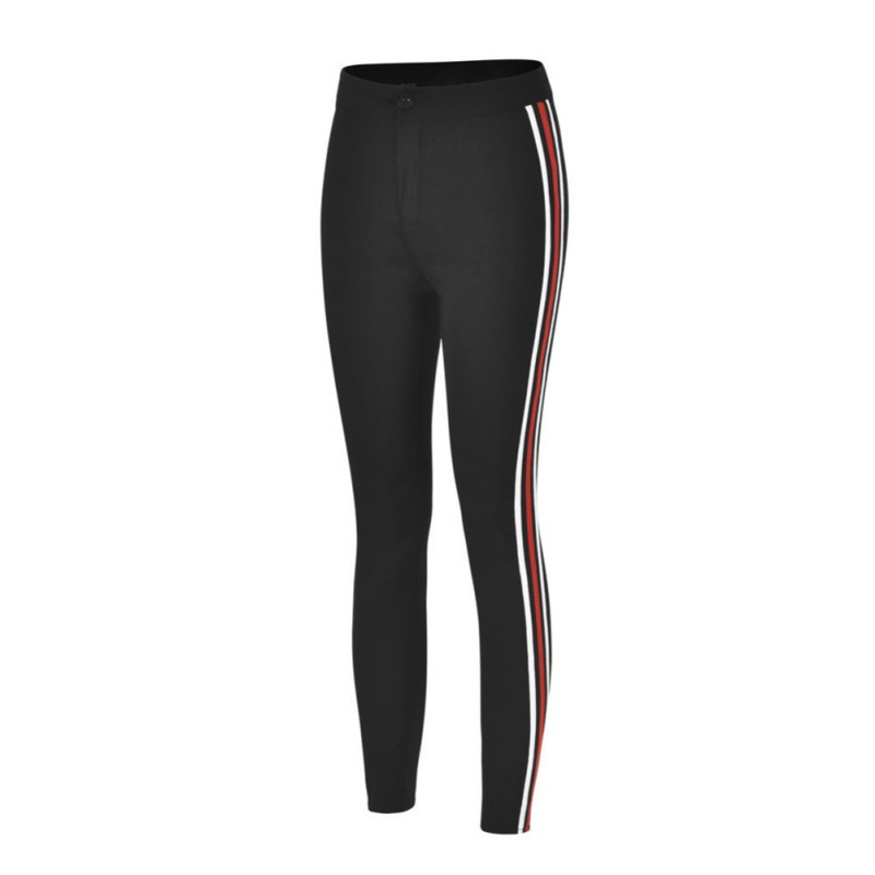 Woman Capris Ladies Side Striped Skinny Pants High Waist Workwear Casual Black Zipper Skinny Trousers