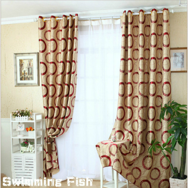 Circle World Print Blinds Shading Window Curtains High Quality Black Out Red Grey Color Luxurious