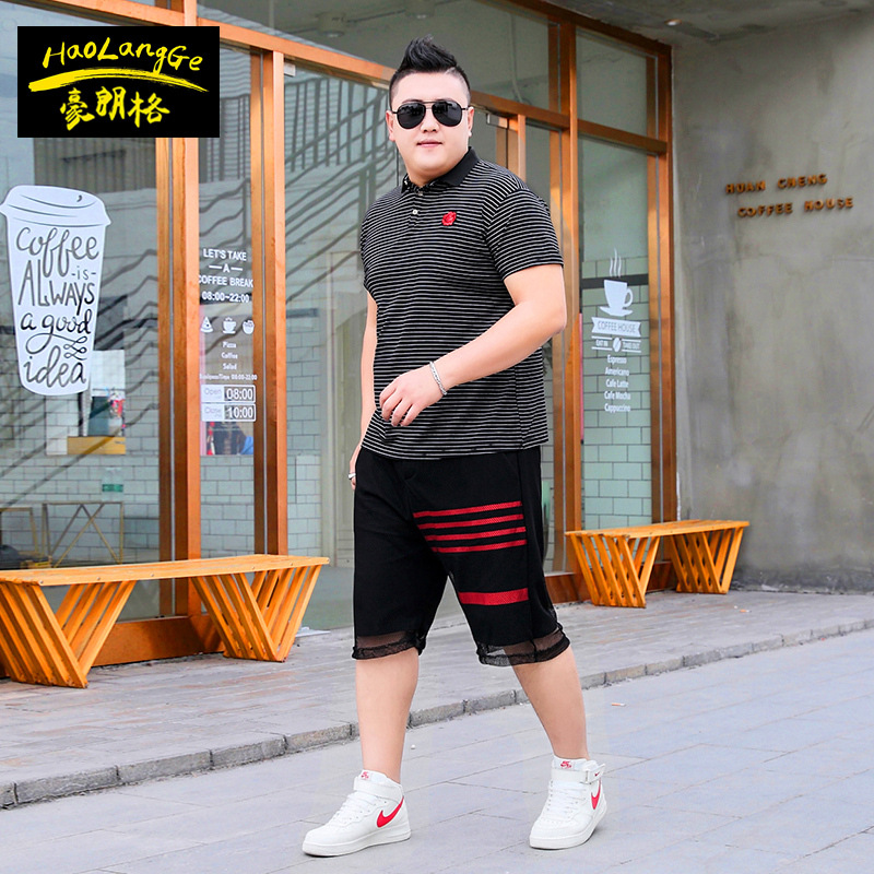 big yards men's suit ,new style lapels combination set man's short sleeve 5 minutes of pants two-piece thin style casual wear