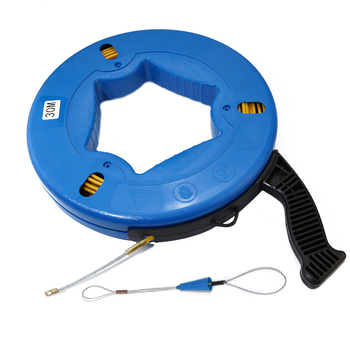Boerray 30M*4mm Non-conductive Fiberglass Fish Tape Reel Puller Conduit Ducting Rodder Pulling Wire Cable