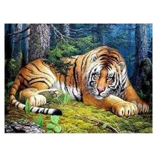 Diamond Embroidered Tiger 5D Painting Animal Cross-Stitch Home Decoration LUOVIZEM L360