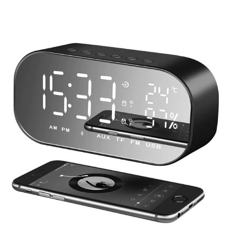 NDJU Alarm Clock Bluetooth Speaker with TF card FM radio Speakers MINI LED Display Digital Table Temperature Handfree altavoz