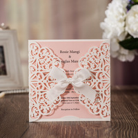 50 pieces White Square Shape Laser cutting Style with Ivory Ribbon Wedding invitation card, Customize Free Party invitation card