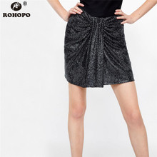 ROHOPO Women Sequined Mini Skirt Bow Belted Sexy Metal Color Streetwear Above Knee Straight Skirts #UK8642