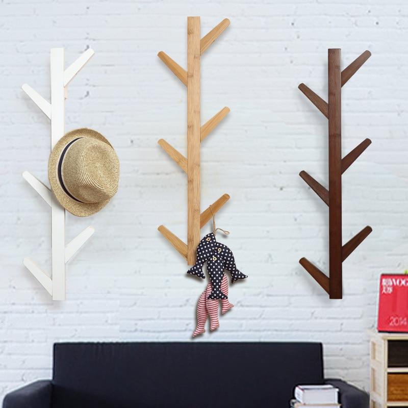 Bambou articles sac vêtements chapeau Rack écharpe porte-manteau mural supports cintre