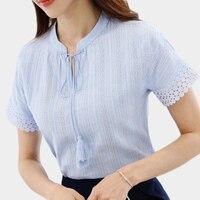 Foxmertor New 2017 Summer Women Blouse Shirt Linen Short Sleeve Casual Chiffon Shirts Solid Hollow Out
