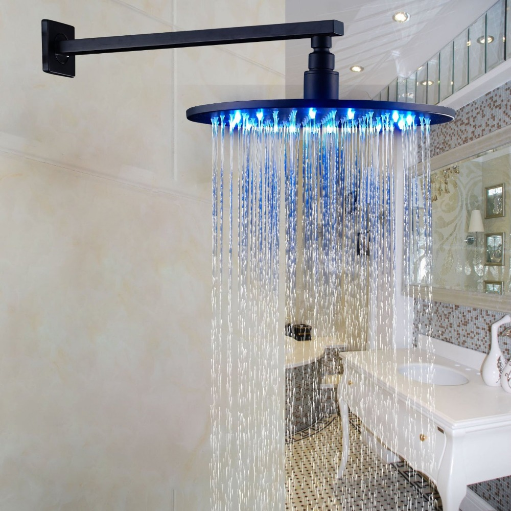 LED Color 12 Inch Rainfall Bath Shower Head + Wall Mounted Shower Arm Oil Rubbed Bronze luxury led color changing 12 square rainfall shower head with brass wall mount shower arm oil rubbed bronze