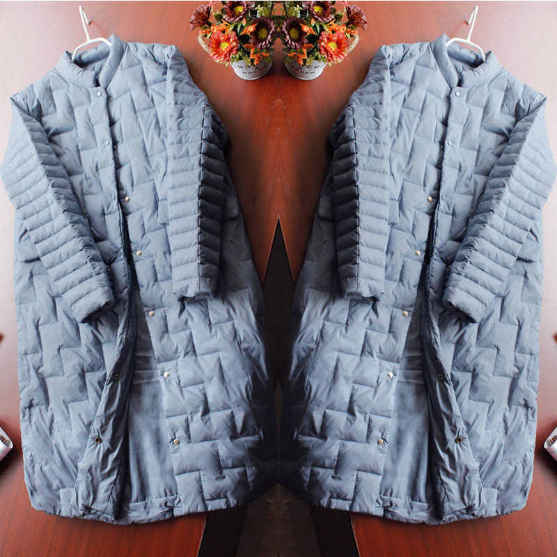 אופנה חורף ארוך לבן ברווז למטה מעיל נשי קל במיוחד אחת חזה Slim דק רך למטה מעיל חם Windproof להאריך ימים יותר