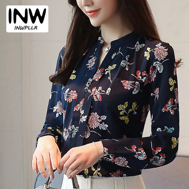 3724e2921d9 2019 Female Office Shirts Floral Print Blouse Womens Blouses And Tops  Casual Long Sleeve Chiffon Blusas Mujer V-neck Tops Ladies