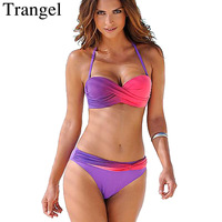 Trangel Bikini Push Up Swimwear Women Bandeau Bikini Set Gradient Color Swimsuit Halter Biquini Sexy Trajes