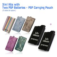 Game accessories for Two PSP Batteries + One PSP Travel Carrying Pouch, Case Bag For All SONY PSP 2000,3000